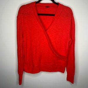 J. Crew Red Wrap Long Sleeve Blouse Small